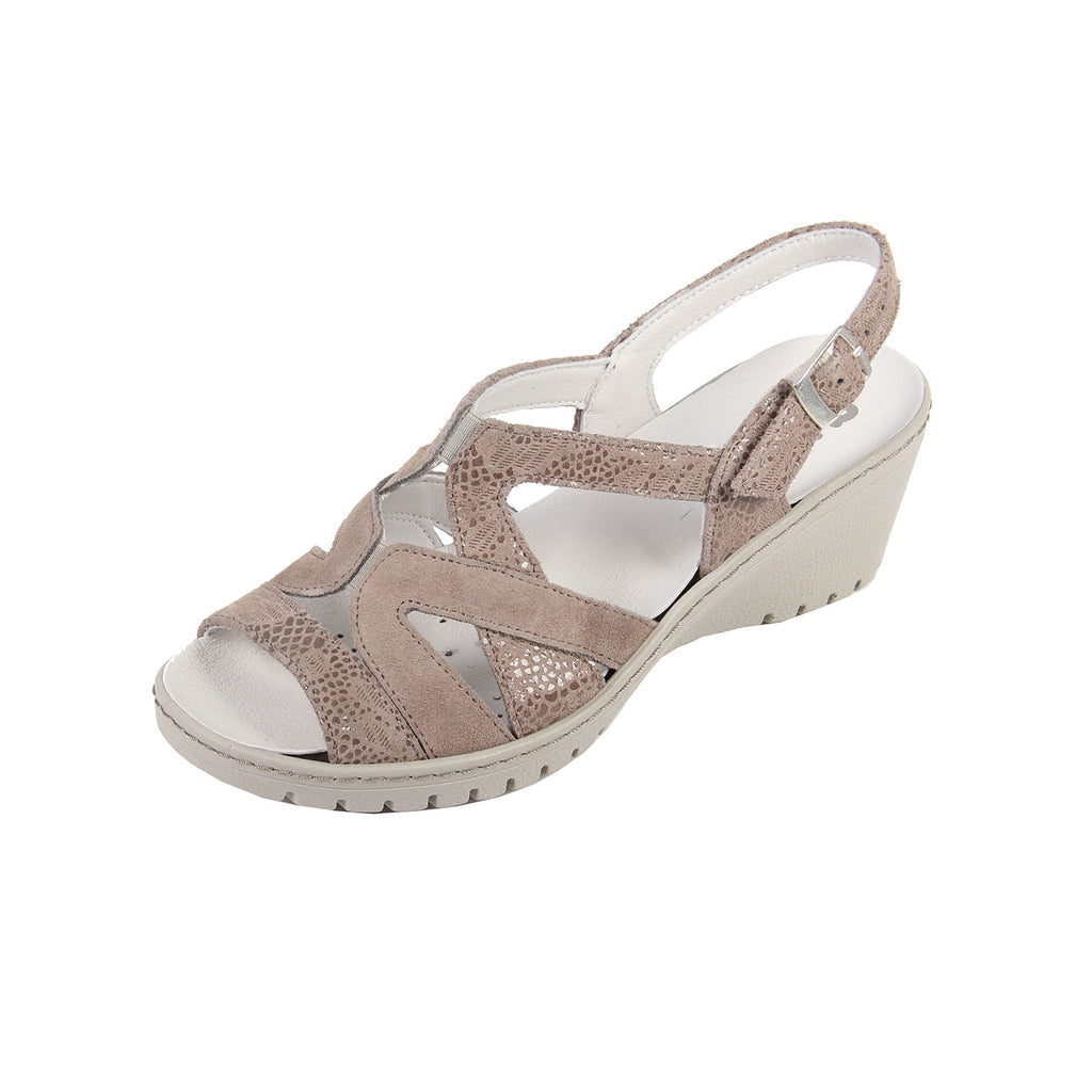 Fran - Beige / Print Leather Sandal