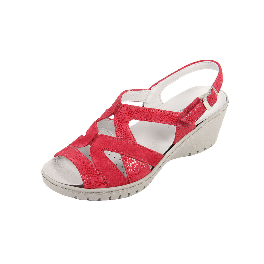 Fran - Cherry / Print Leather Sandal