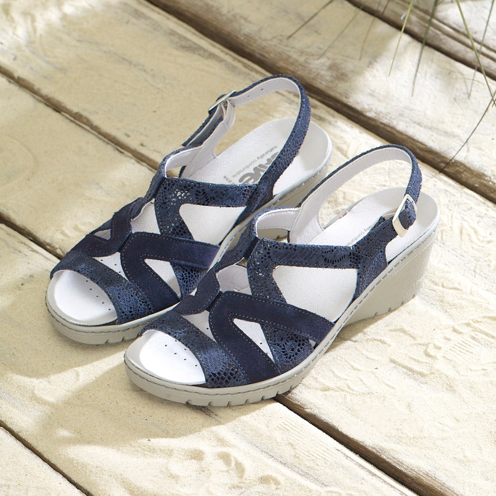 Fran - Navy / Print Leather Sandal