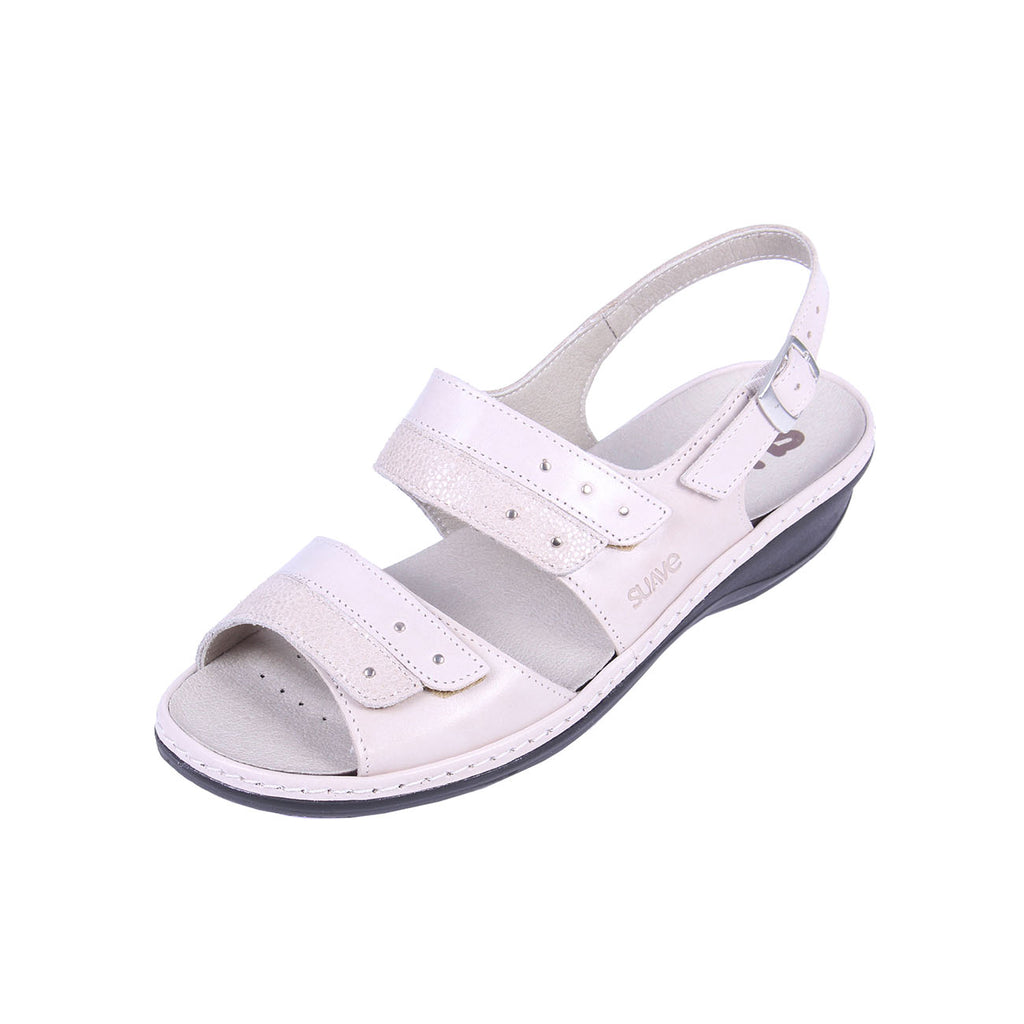 Hayley - Ivory / Reptile Leather Sandal