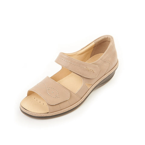 Hilda - Beige Leather Sandal