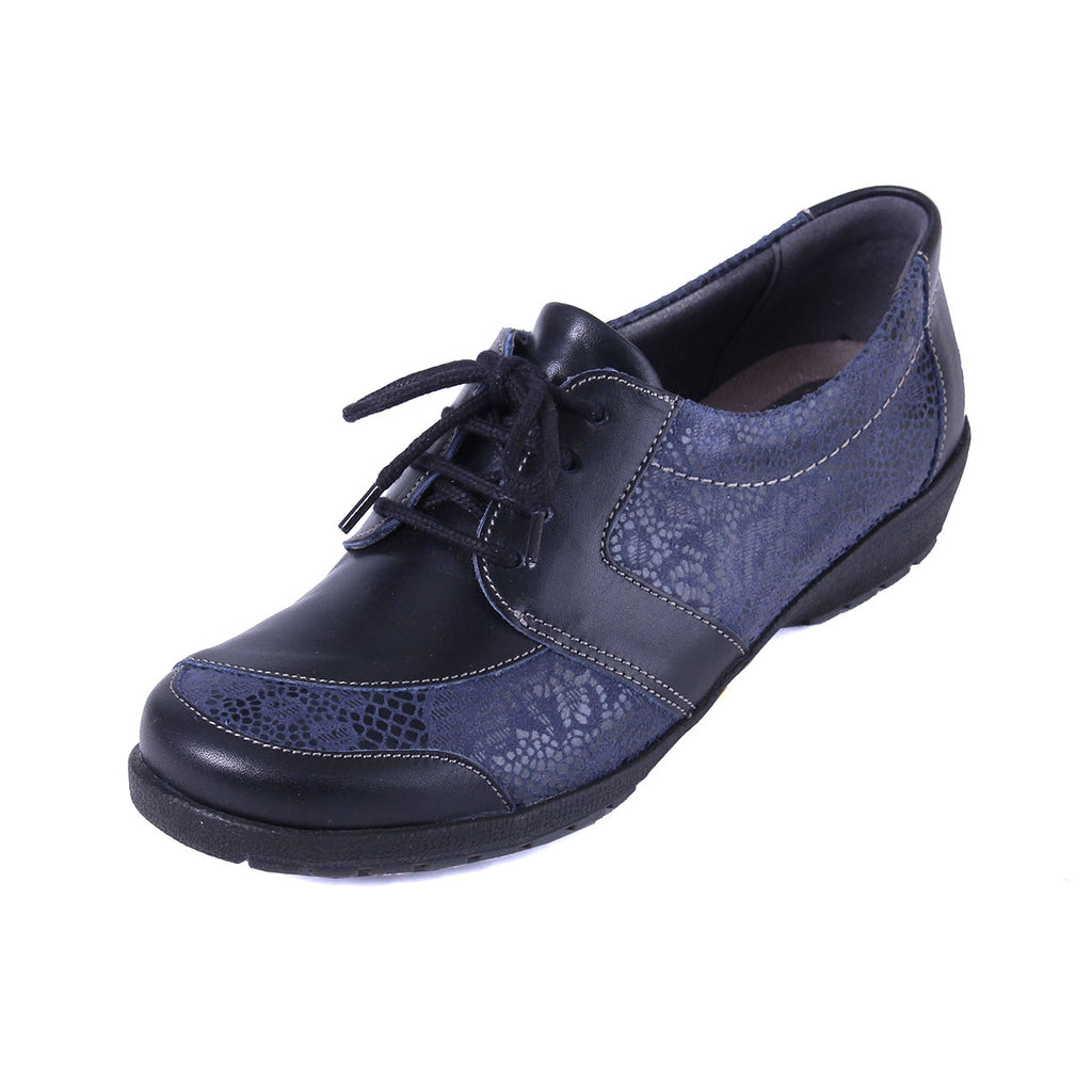 Josie - Navy / Print Leather Shoe