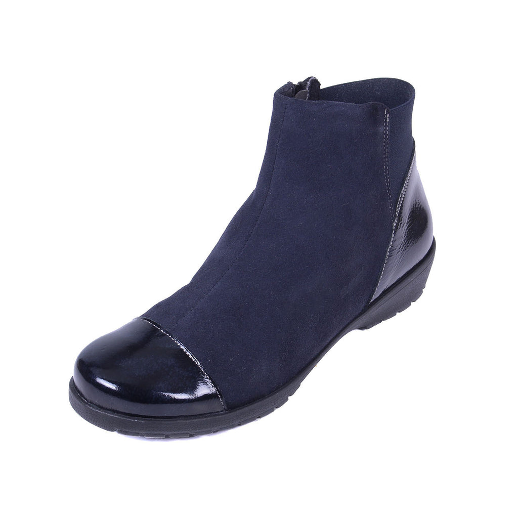 Joyce - Navy Suede / Patent Leather Boot