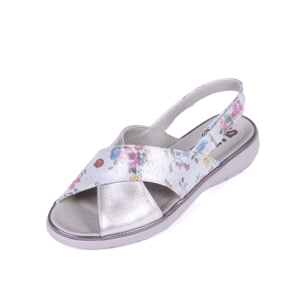 Katy - Platinum/Floral Leather Sandal