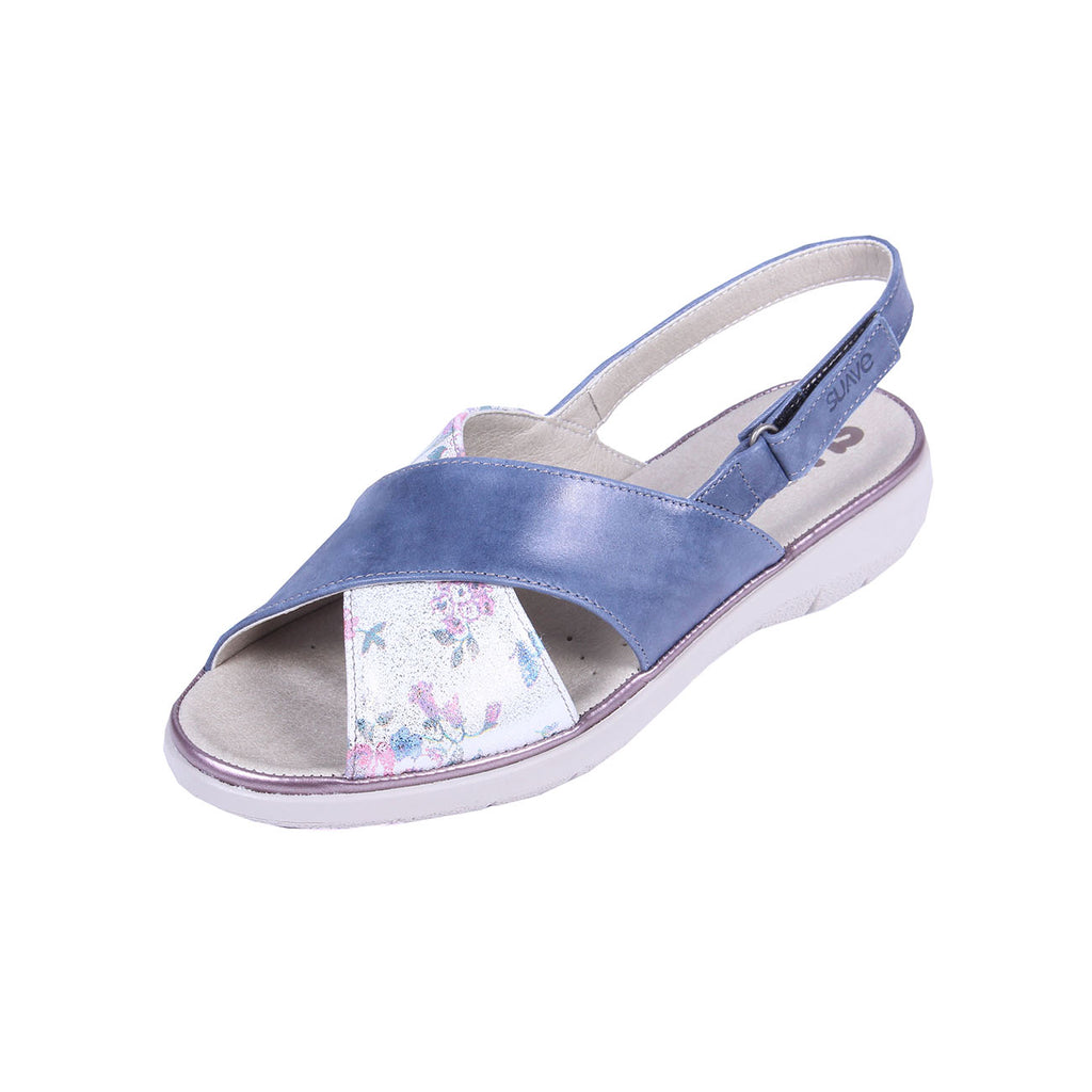 Katy - Royal / Floral Leather Sandal