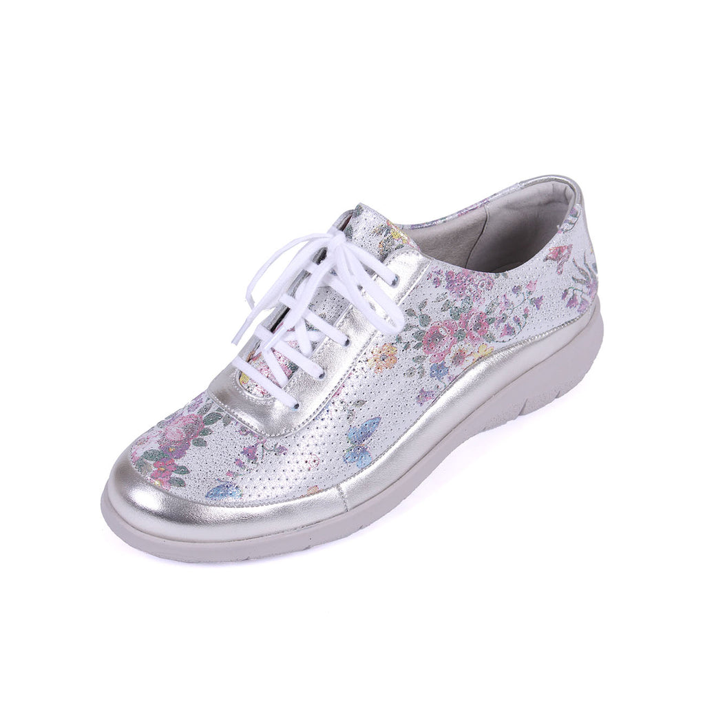 Libby - Platinum/Floral Leather Shoe