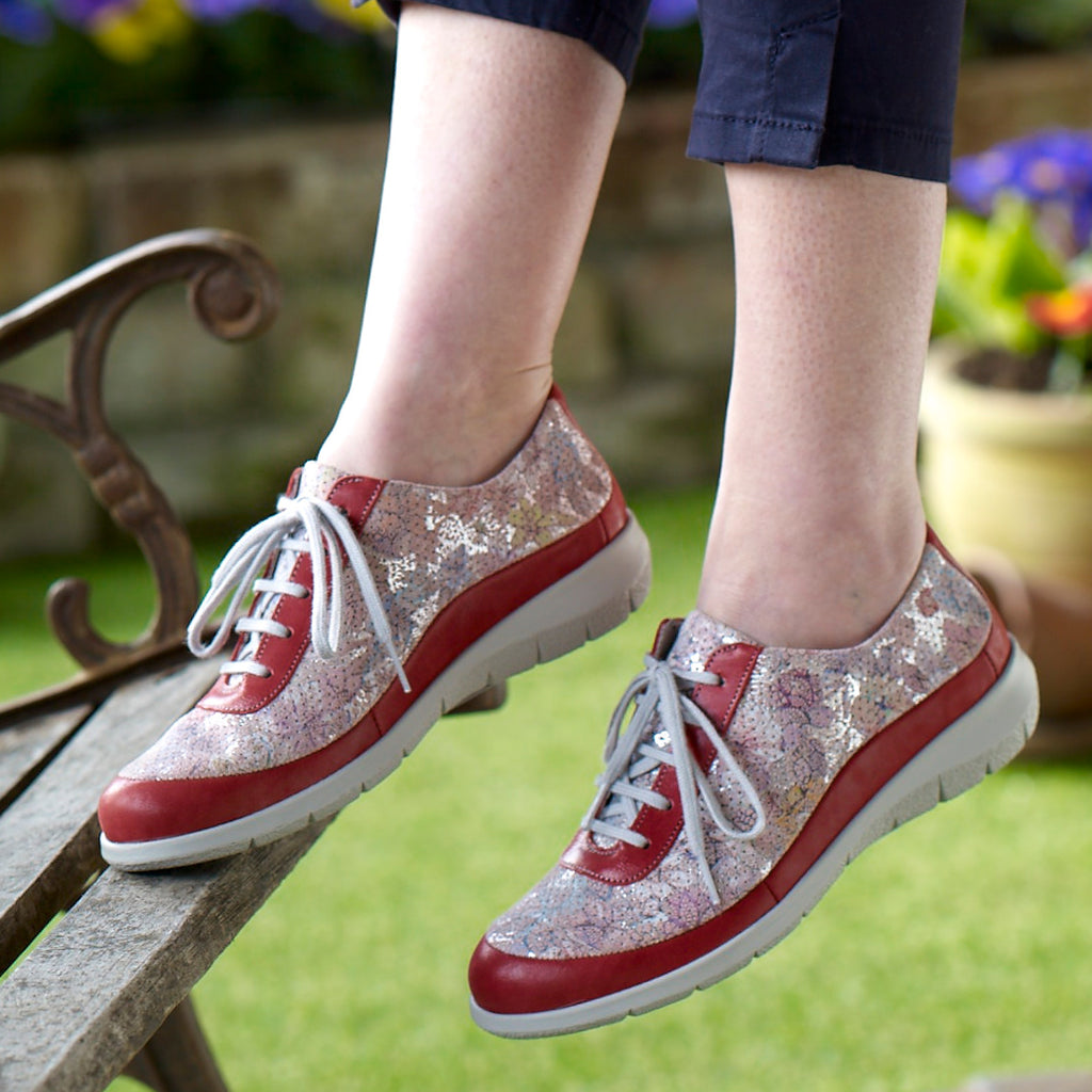 Libby - Cerise / Floral Leather Shoe