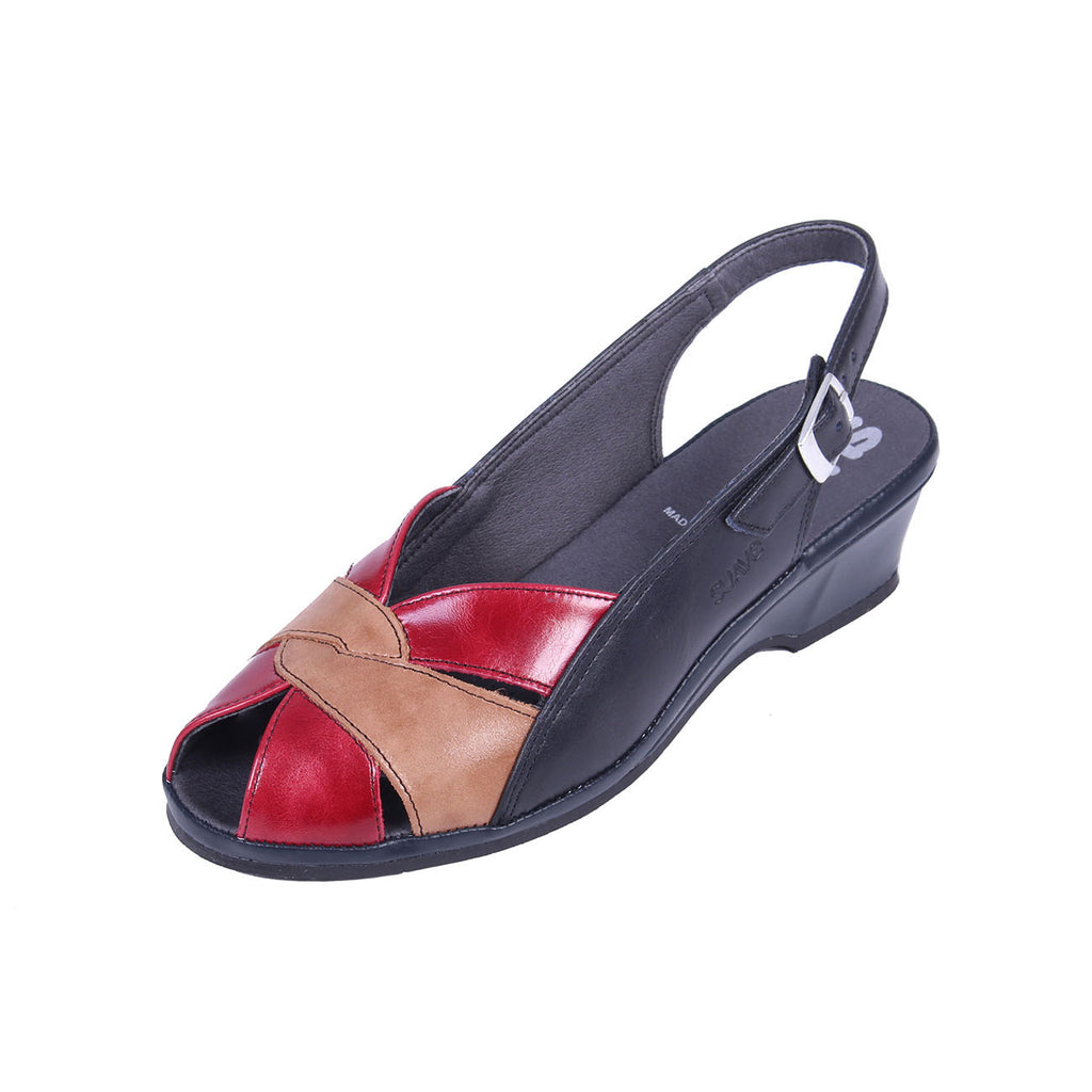 Olena - Navy / Red / Beige Leather Sandal