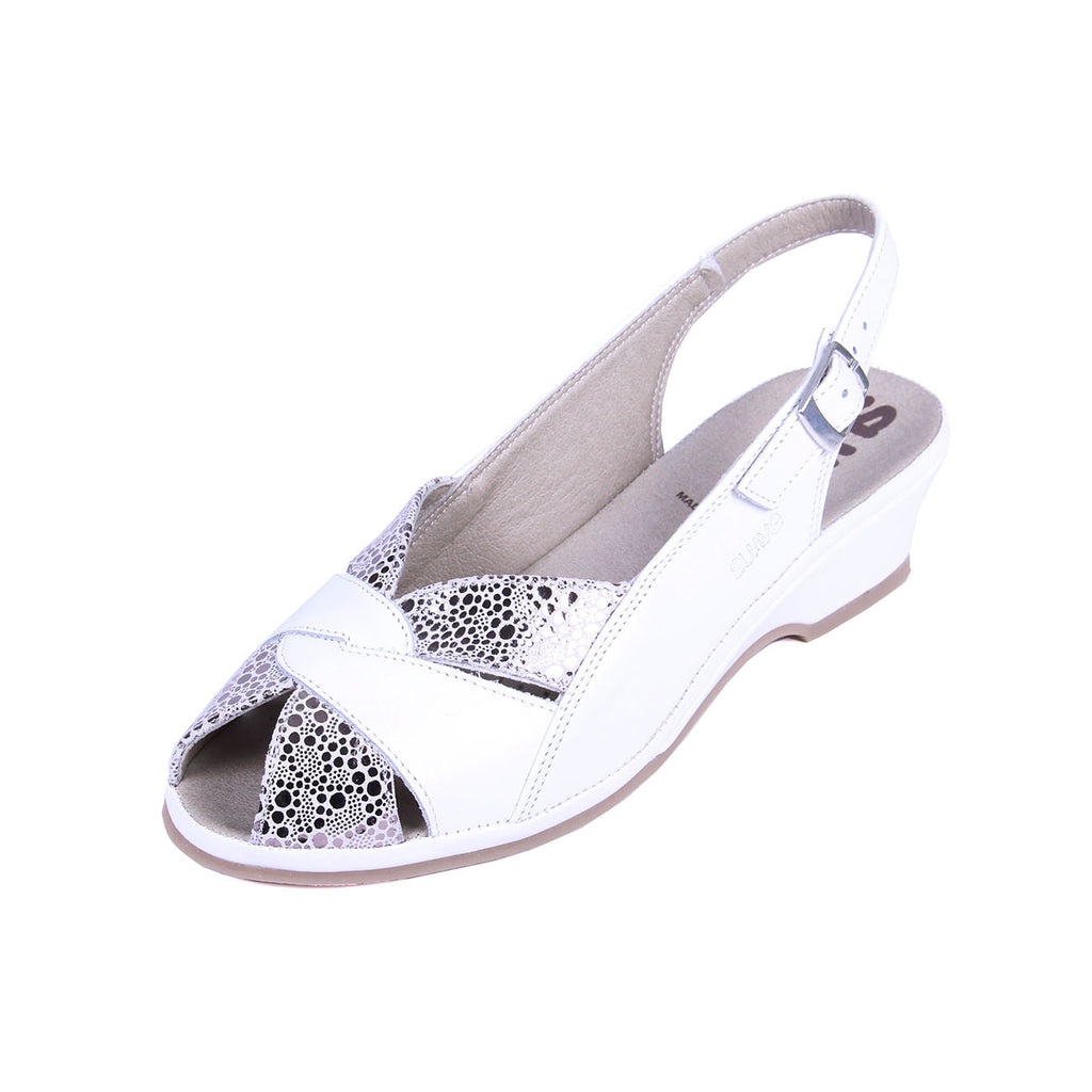 Olena - White / Shimmer Leather Sandal