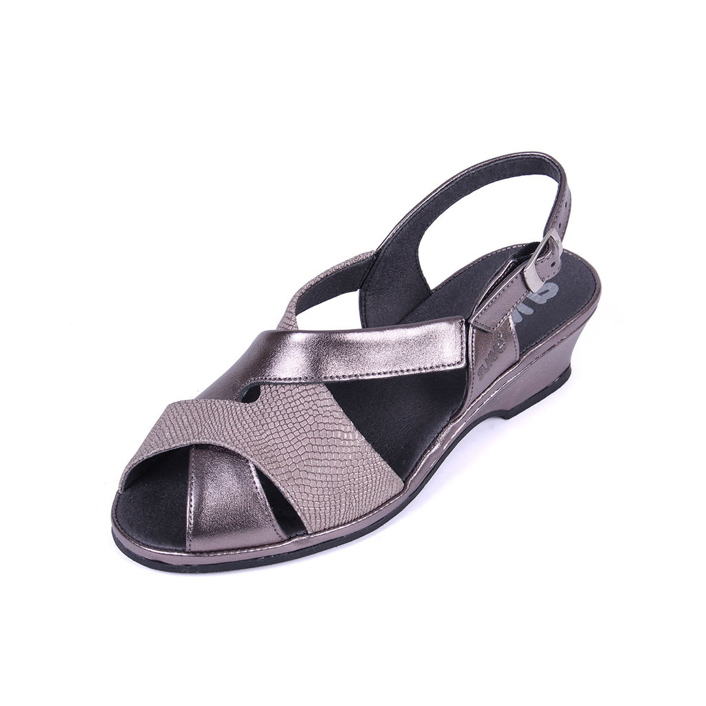 Olivia - Gunmetal/Print Leather Sandal
