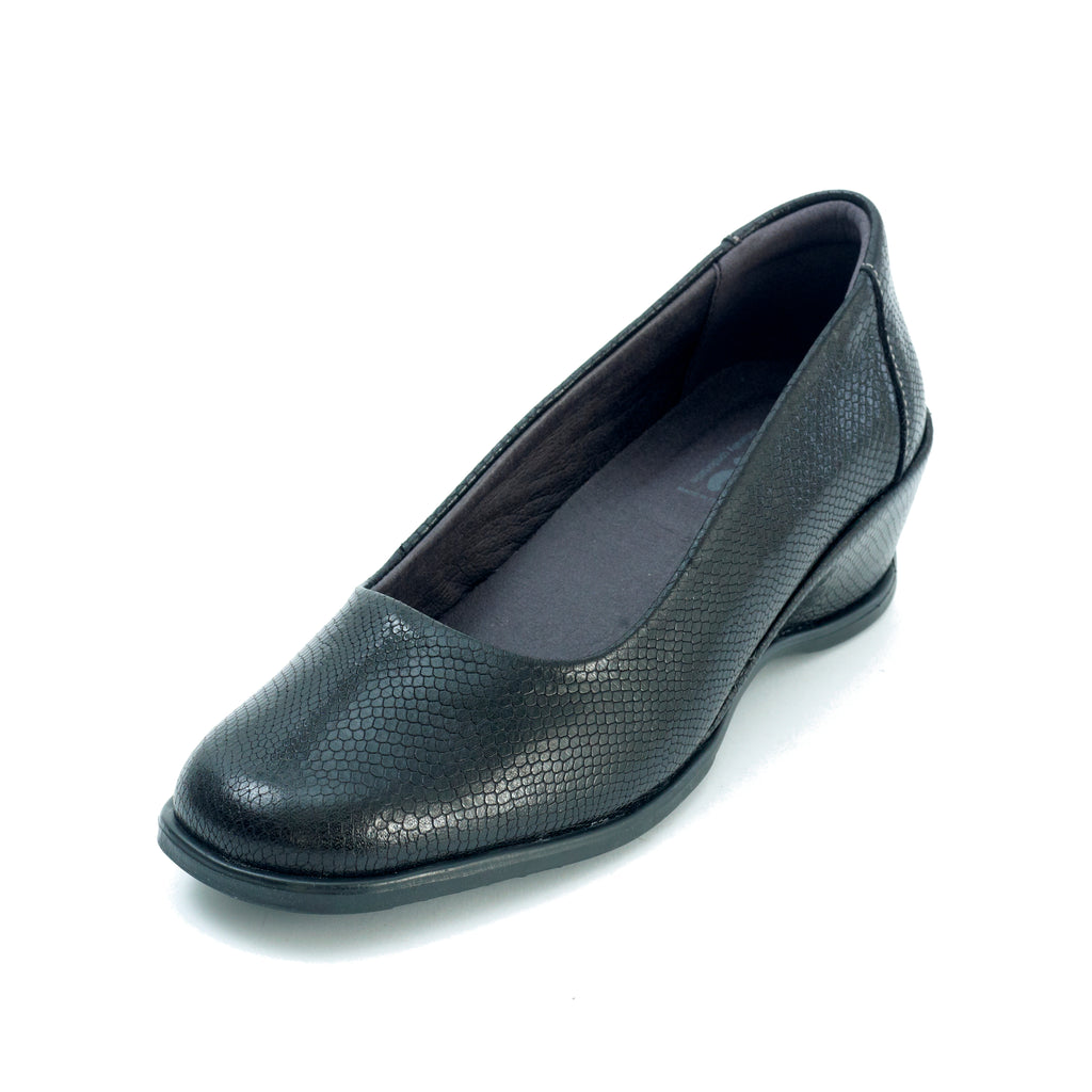 Saskia - Black Croc Leather Shoe