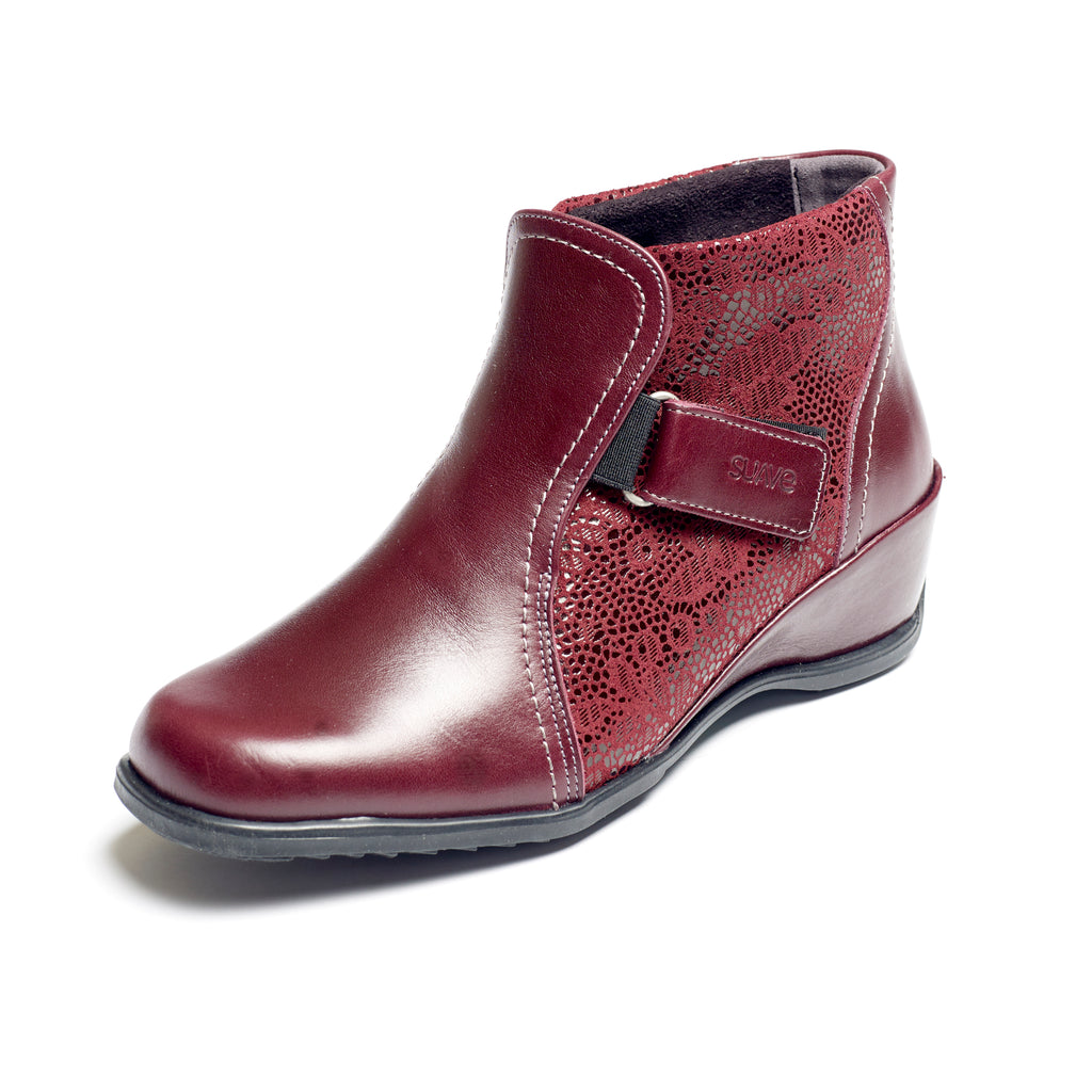 Sasha - Dark Red / Print Leather Boot