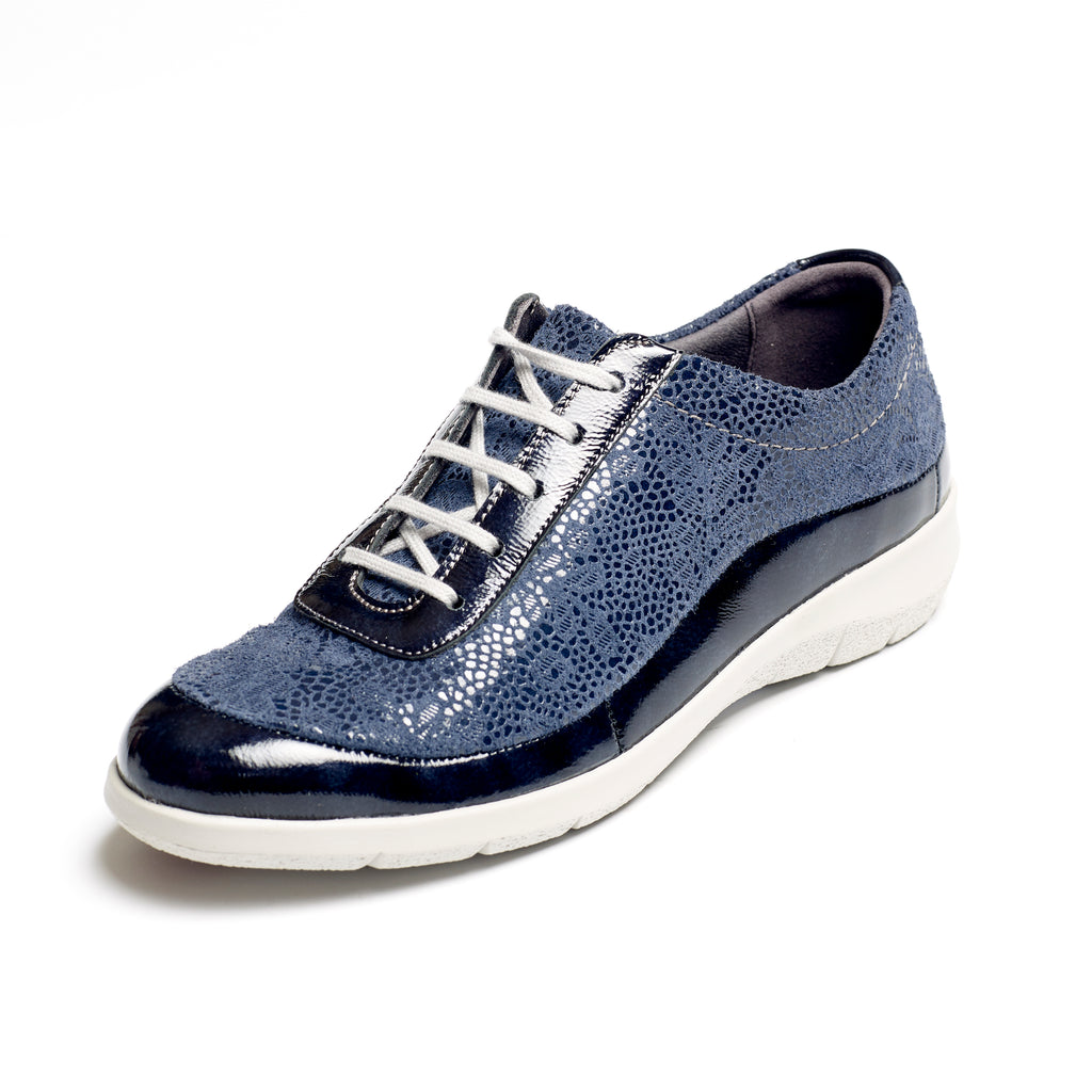 Libby - Navy / Print Leather Shoe