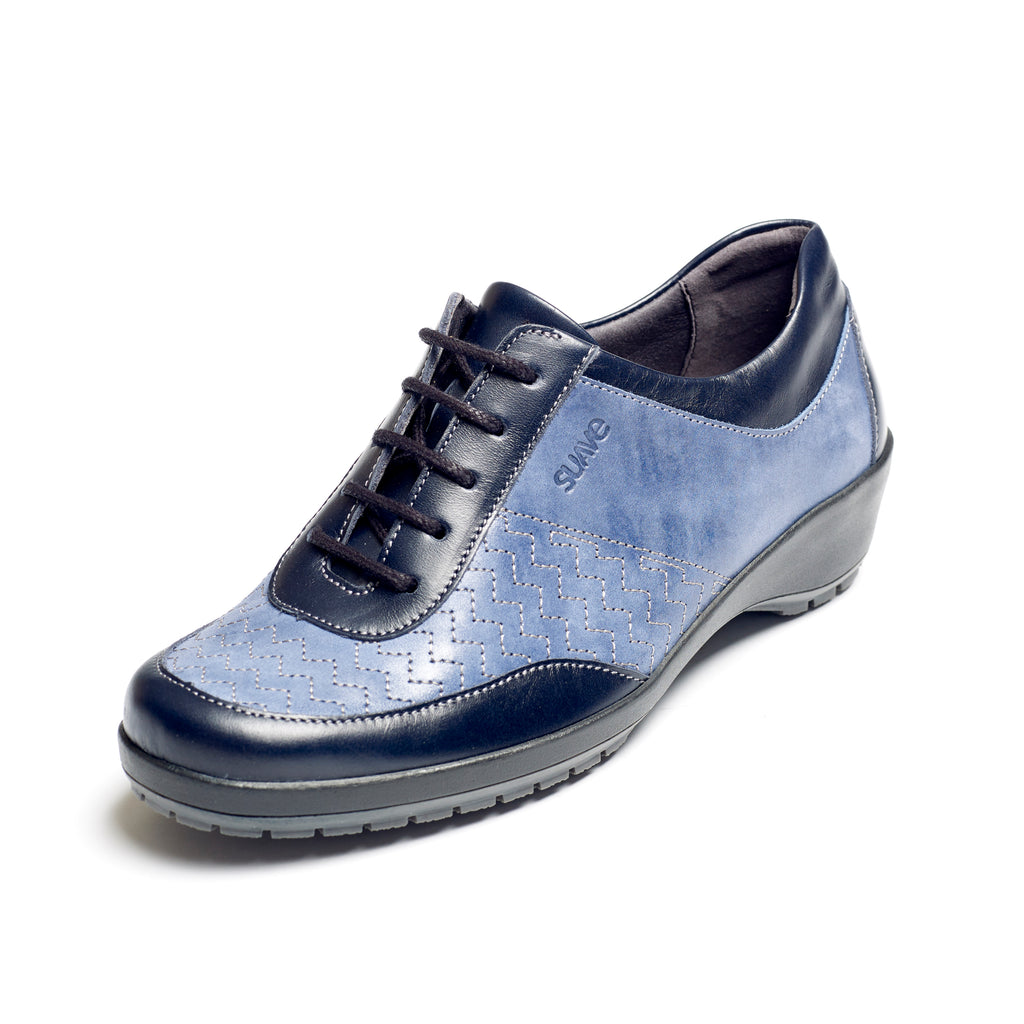 Queen - Navy / Blue Leather Shoe