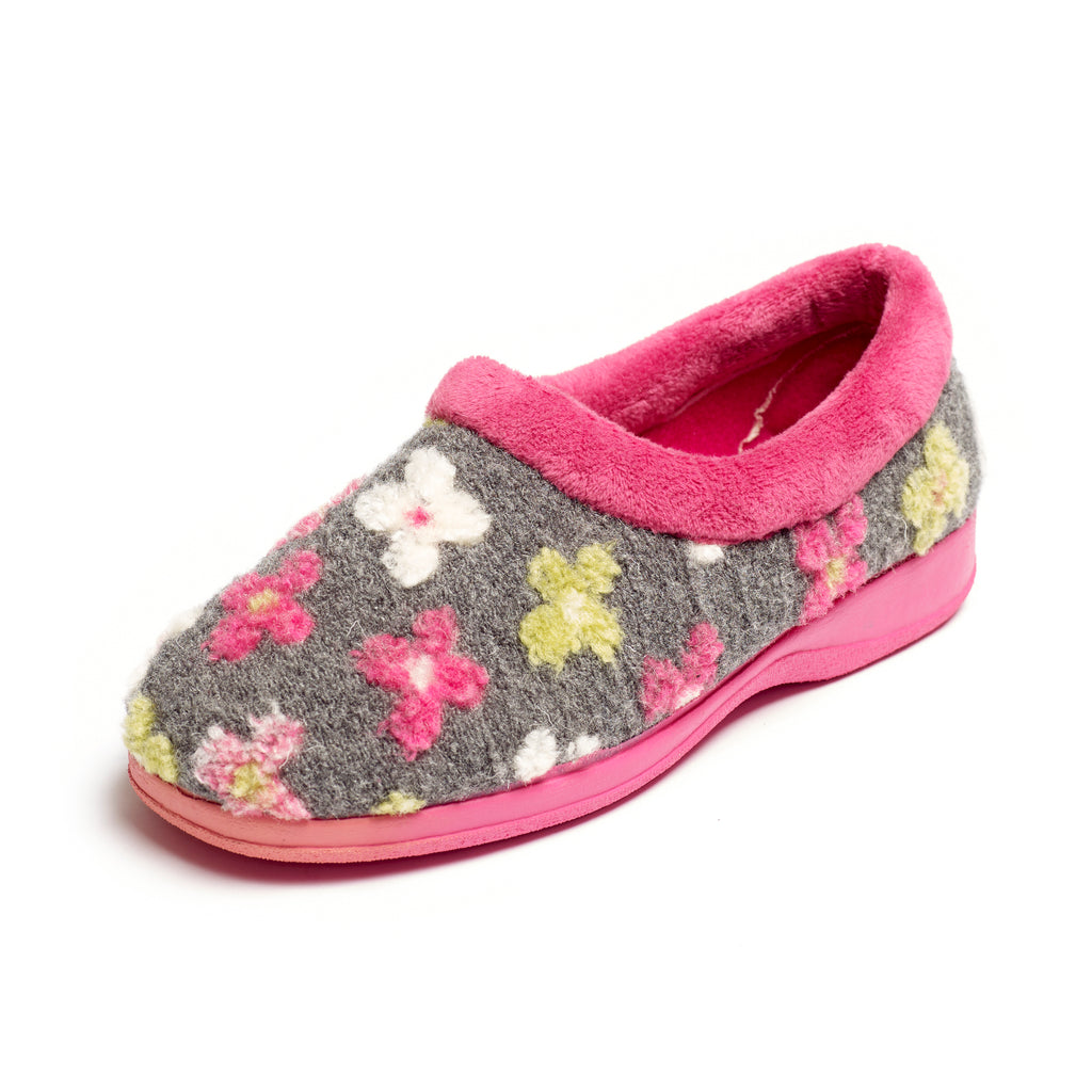 Primrose - Grey / Pink Multi Slipper