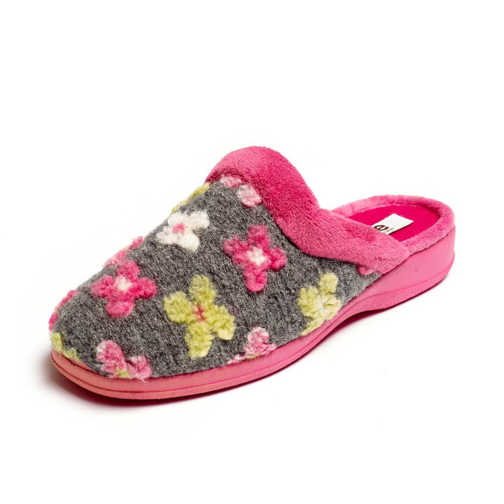 Polly - Grey / Pink Multi Slipper