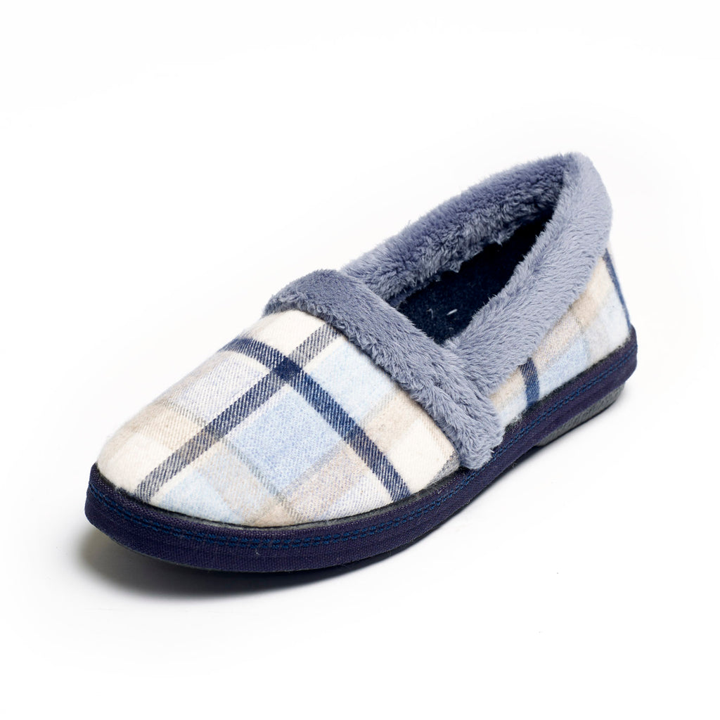 Pipa - Blue Check Slipper
