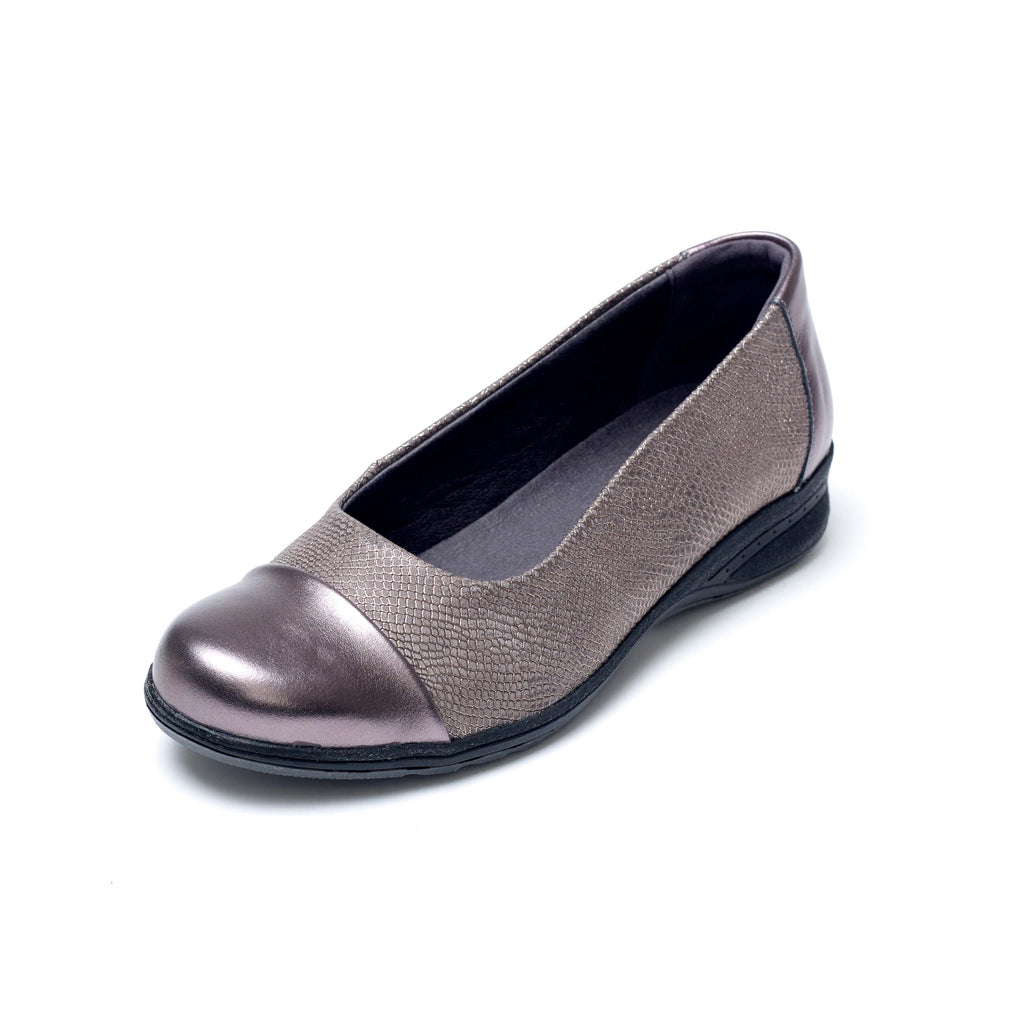 Beth - Metallic / Gunmetal Leather Shoe