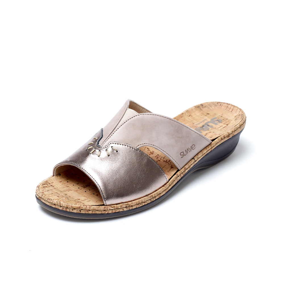 Harper - Beige / Gold Leather Mule