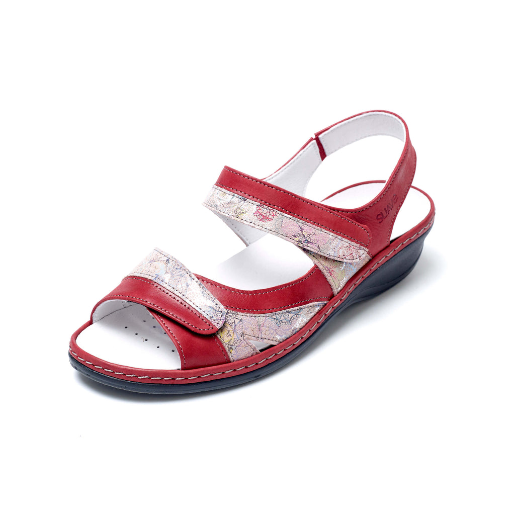 Hester - Cerise / Floral Leather Sandal