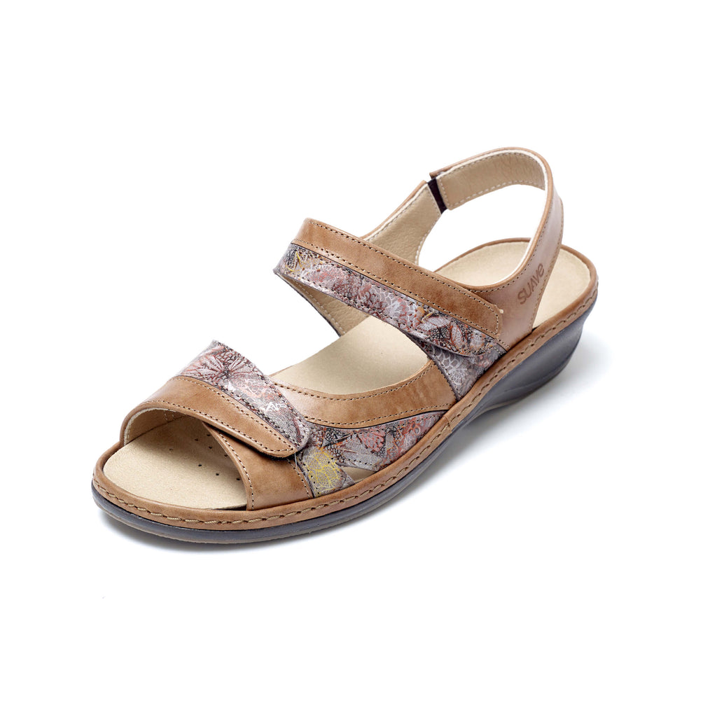Hester - Tan / Floral Leather Sandal