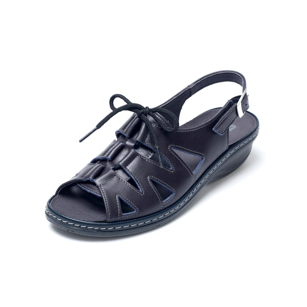 Hilary - Navy Leather Sandal