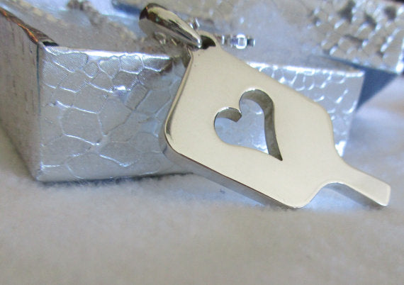 PB&J Sterling Silver Mega Heart Pickleball Pendant (Pb12-2h)