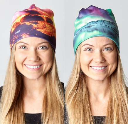 Reversible hat with Eyjafjallajökull & Northern lights