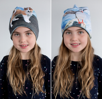 Reversible hat with Puppy & Puffin