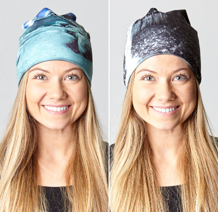 Reversible hat with Svartifoss & Northern lights