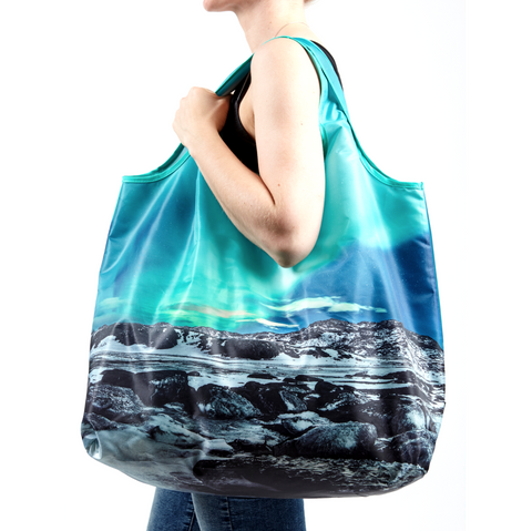 Humongous reusable shopping bag with the northern lights
