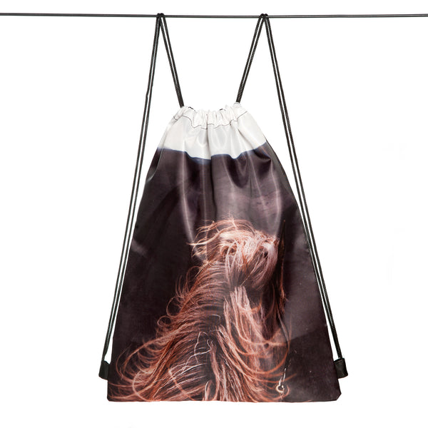 Drawstring bag - black beach horse