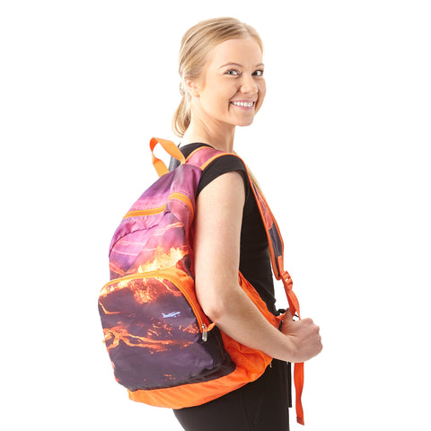 Foldable backpack with Eyjafjallajökull