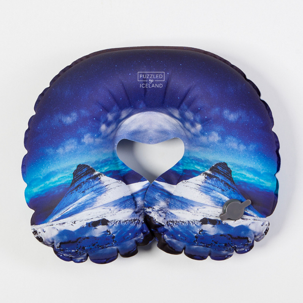 Inflatable Travel Neck Pillow with Kirkjufell