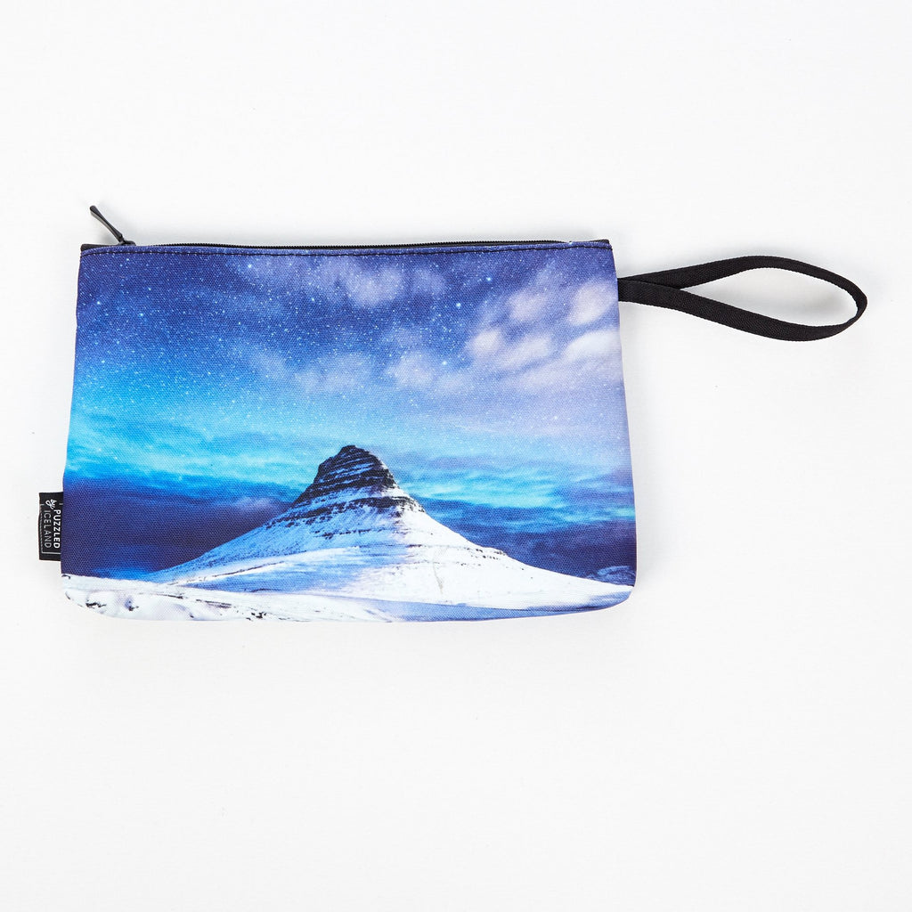 Cosmetic bag with Kirkjufell mountain