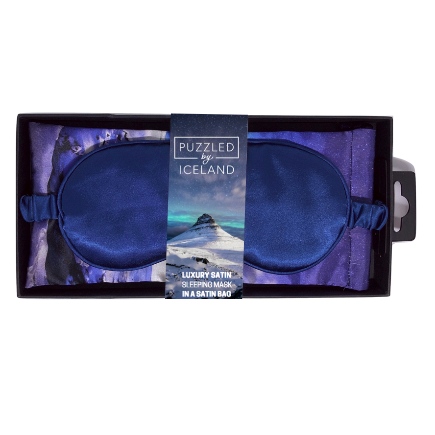Luxury sleeping mask with the Kirkjufell mountain