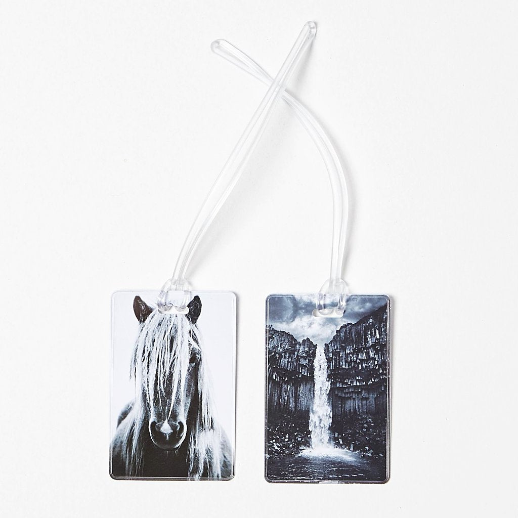 Luggage tags with the Icelandic horse and Svartifoss waterfall