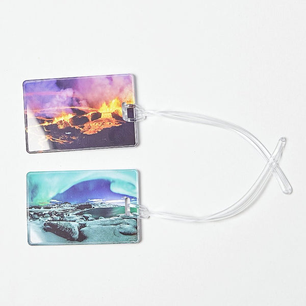 Luggage tags with the northern lights and volcano