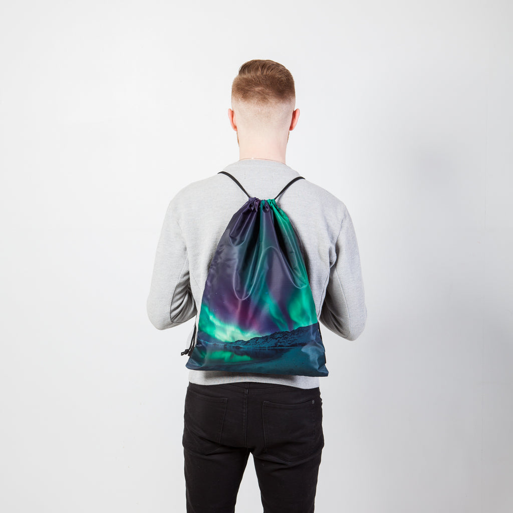 Drawstring bag - Purple northern lights