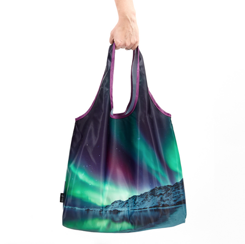 Reusable shopping bag northern lights