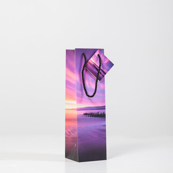 Bottle gift bag Ship sunset