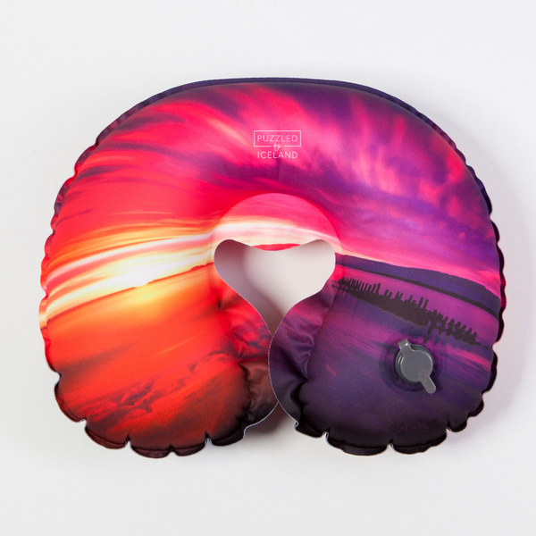Inflatable Travel Neck Pillow with sunset