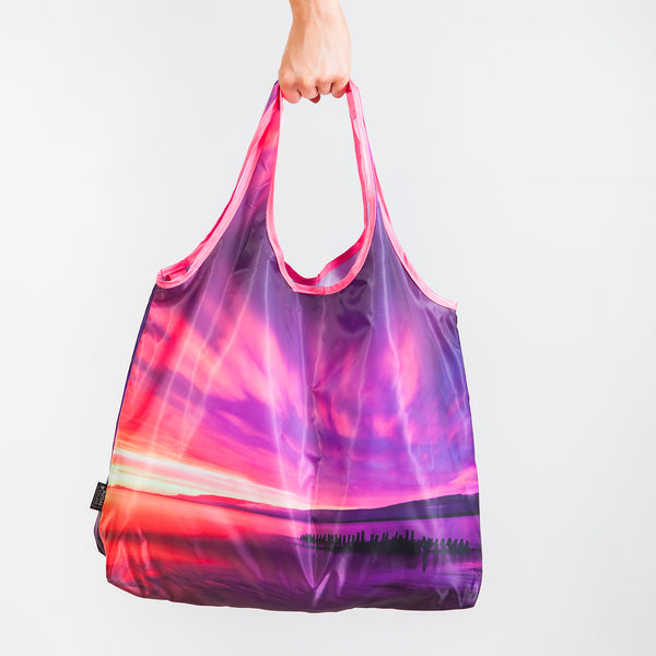 Reusable shopping bag with the Icelandic sunset