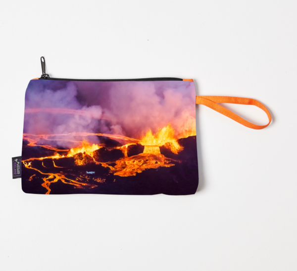 Cosmetic bag with Eyjafjallajökull volcano
