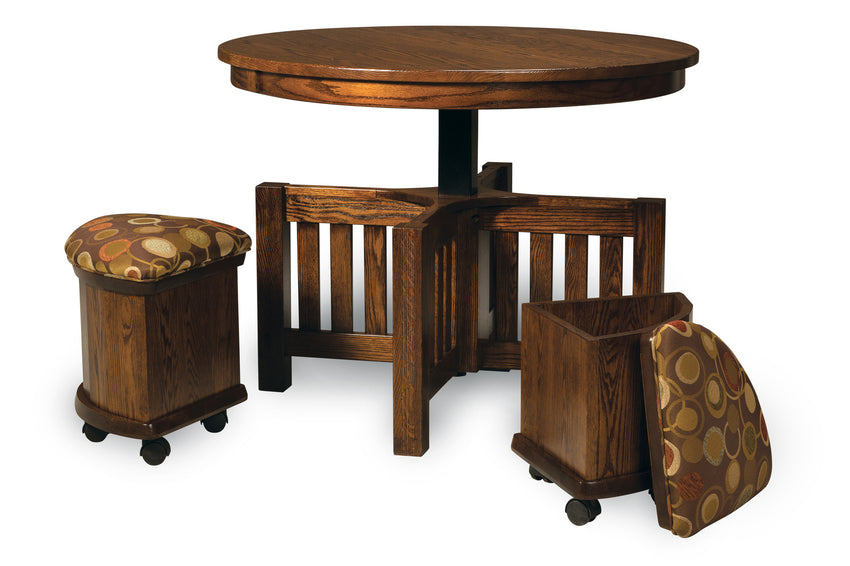 Five Piece Round Table Bench Set with Storage