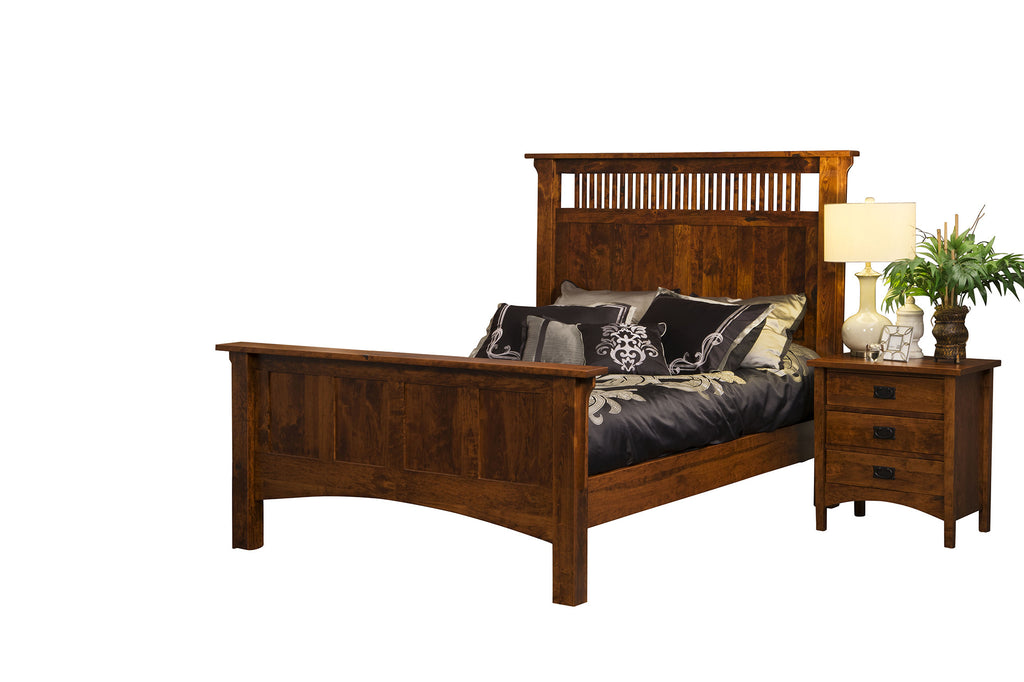 Arts and Crafts spindle panel bed