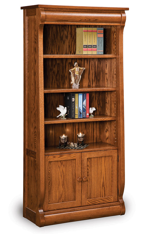 Old Classic Sleigh 4 shelf, 2 door bookcase