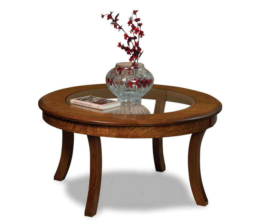 "Sierra 38"" Round Glass Top Coffee Table"