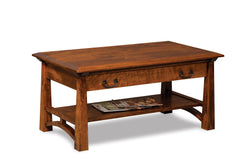 Artesa Open Coffee Table with Drawer and Shelf