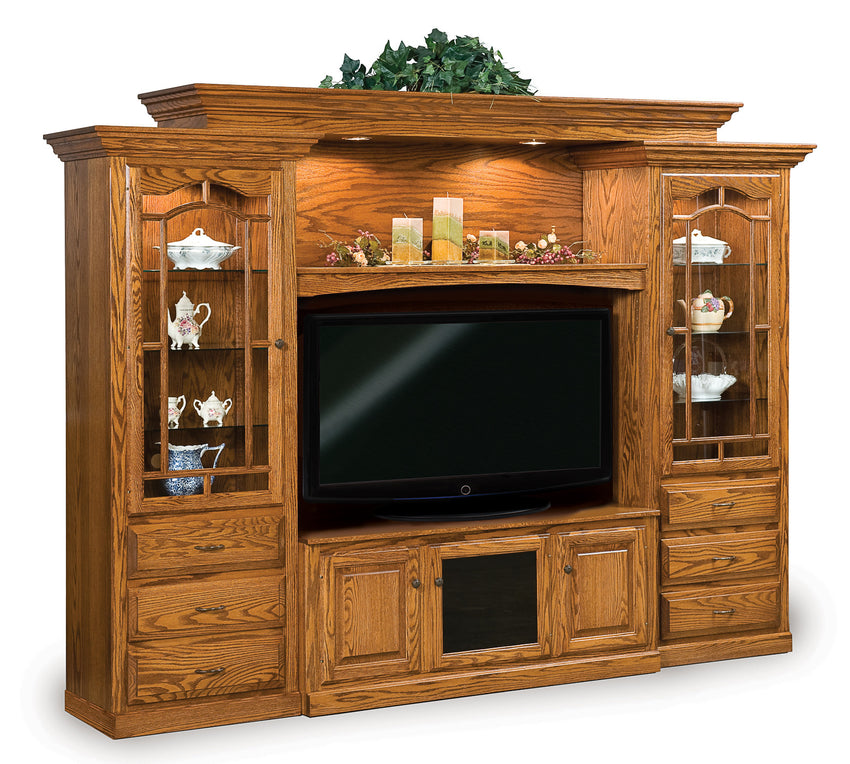Hoosier Heritage Wall Unit w/Adj. Bridge for wide screen TV's 6pc.